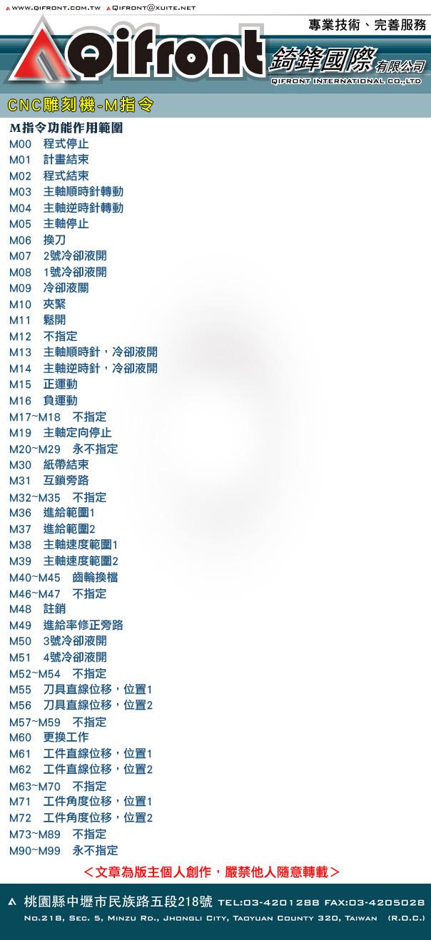 CNC雕刻機-M指令M-code-錡鋒文章圖檔